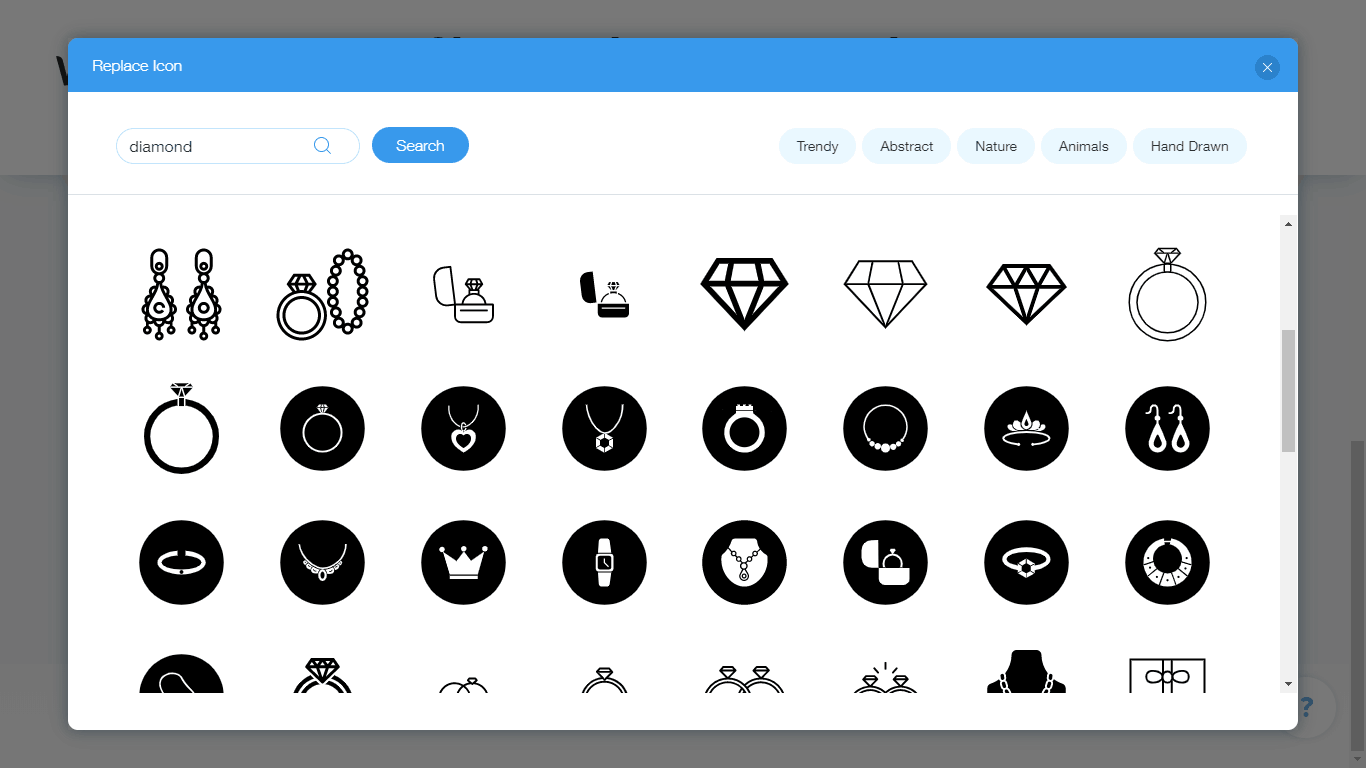 Wix Logo Maker screenshot - diamond icons