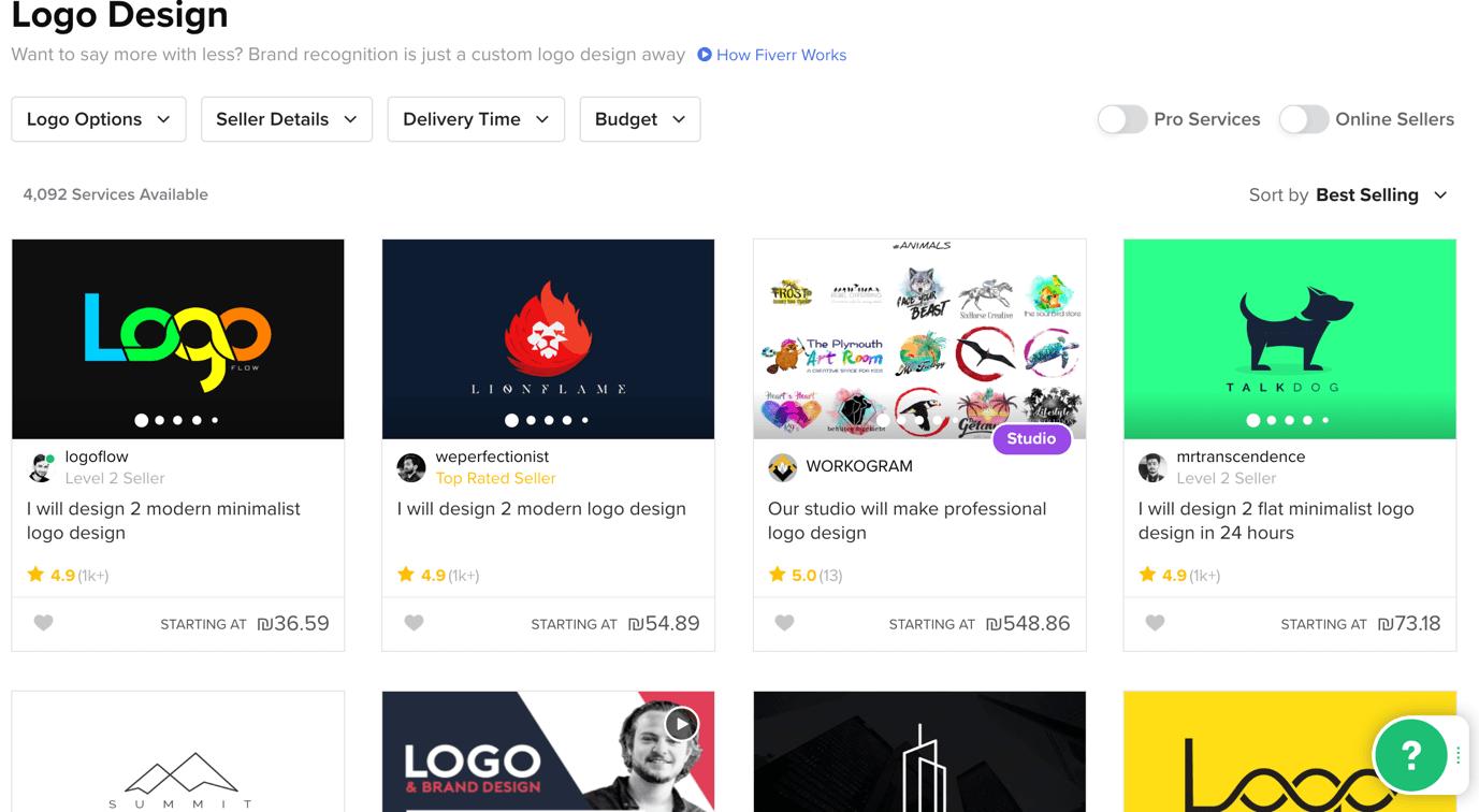 Fiverr screenshot - Emblem logos