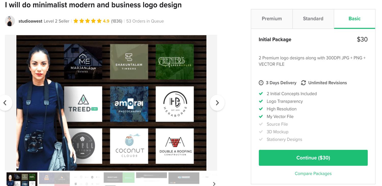 Fiverr screenshot - Package options