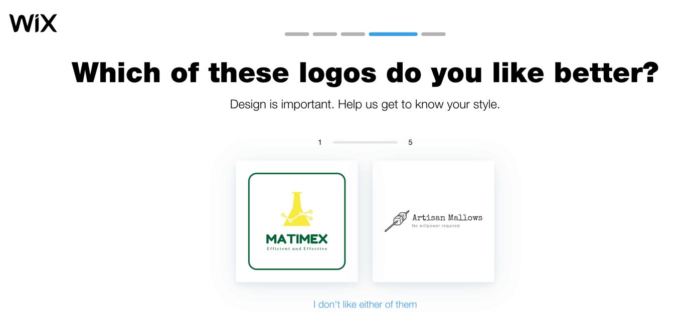Wix Logo Maker screenshot - logo comparisons