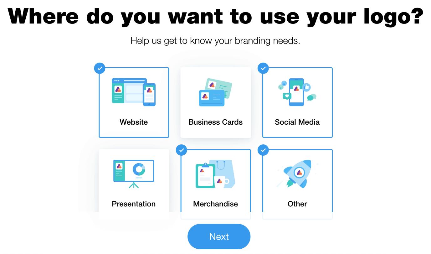 Wix Logo Maker screenshot - logo uses