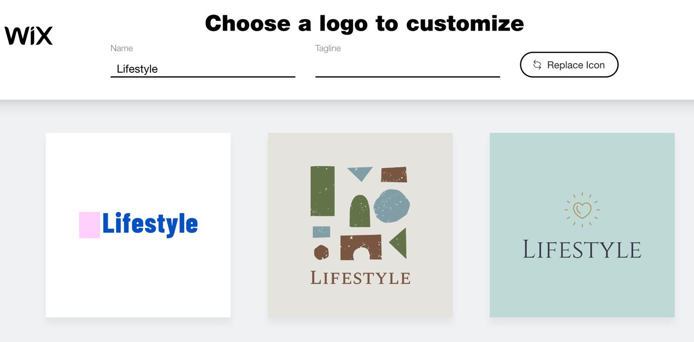 Wix Logo Maker screenshot - logo options