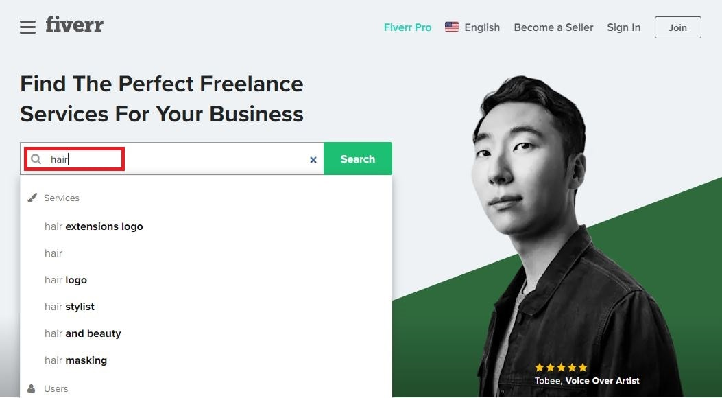 Fiverr screenshot - Search bar