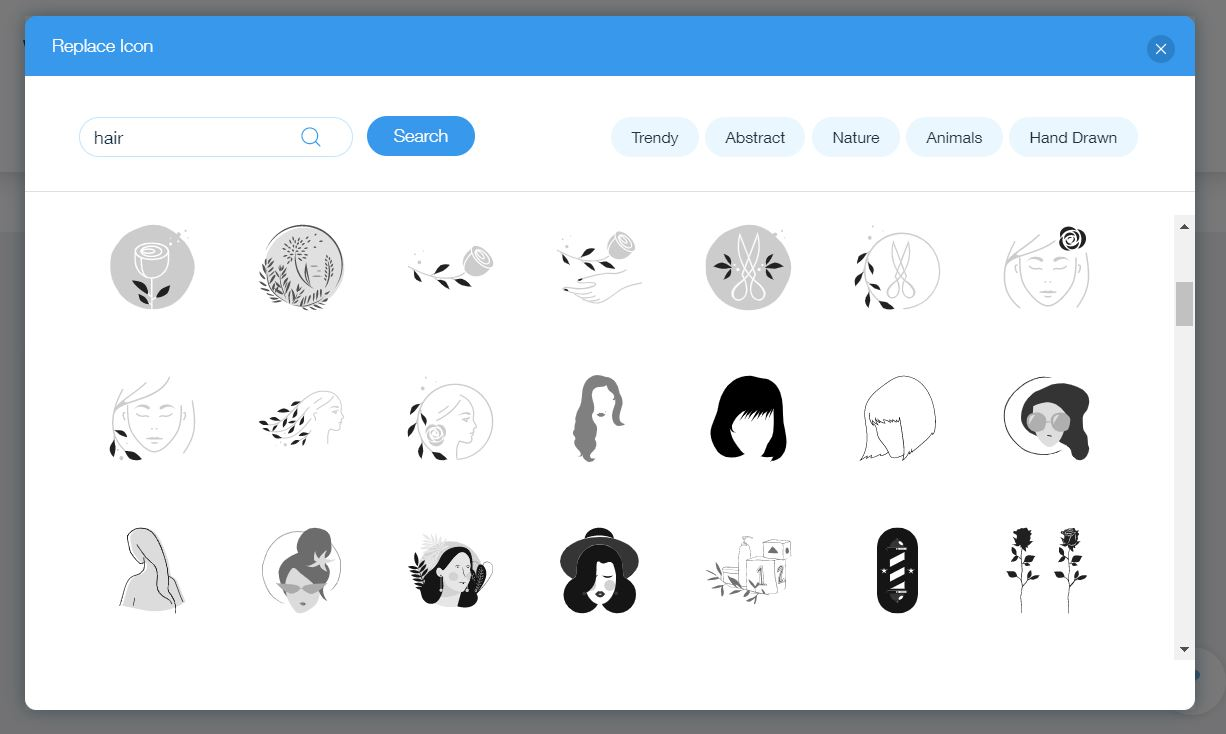 Wix Logo Maker screenshot - Hair icons