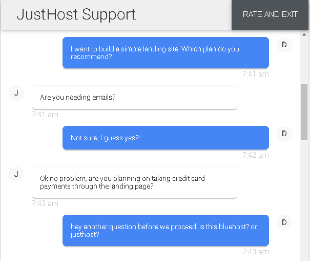 JustHost - live chat 2