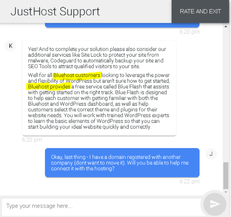 JustHost support