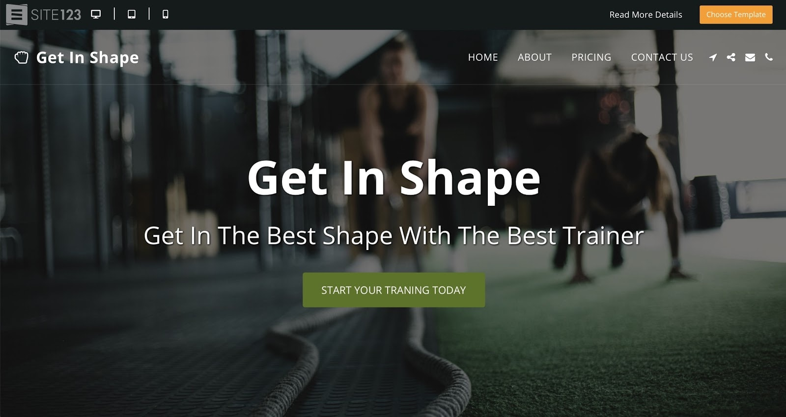 SITE123 Get In Shape template