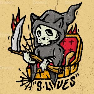 Skull logo - 9 lives