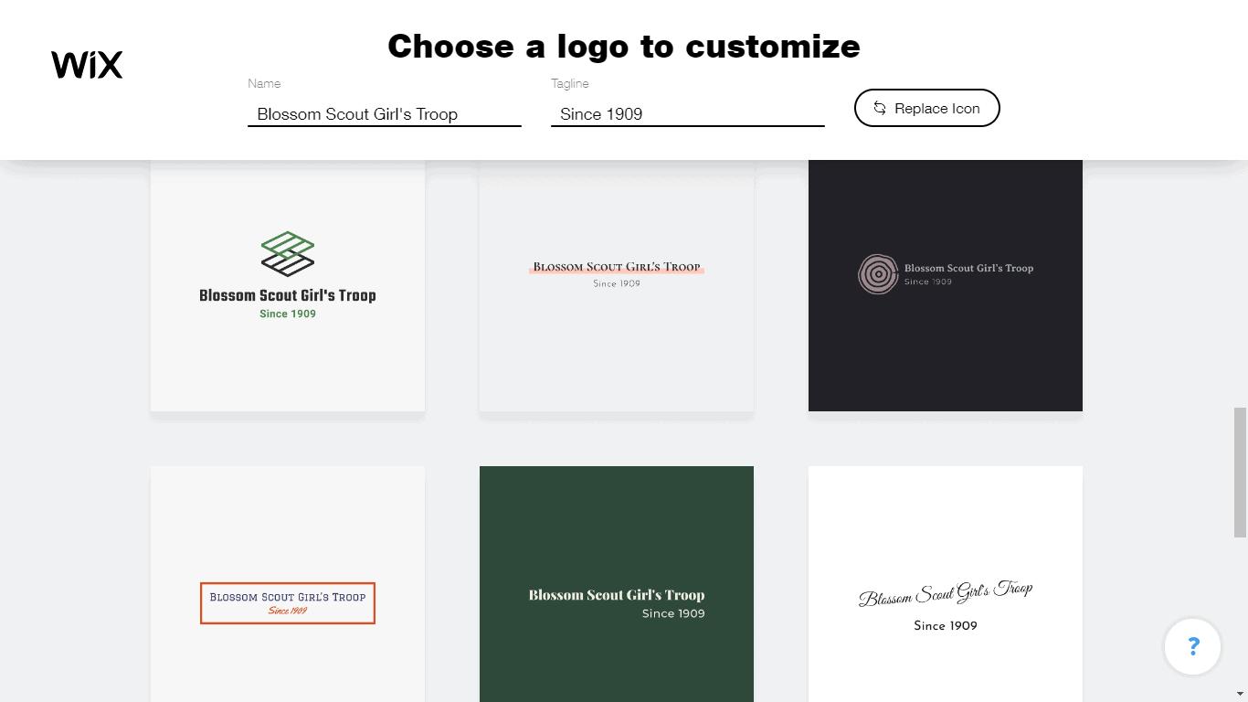 Wix Logo Maker screenshot - logo suggestions