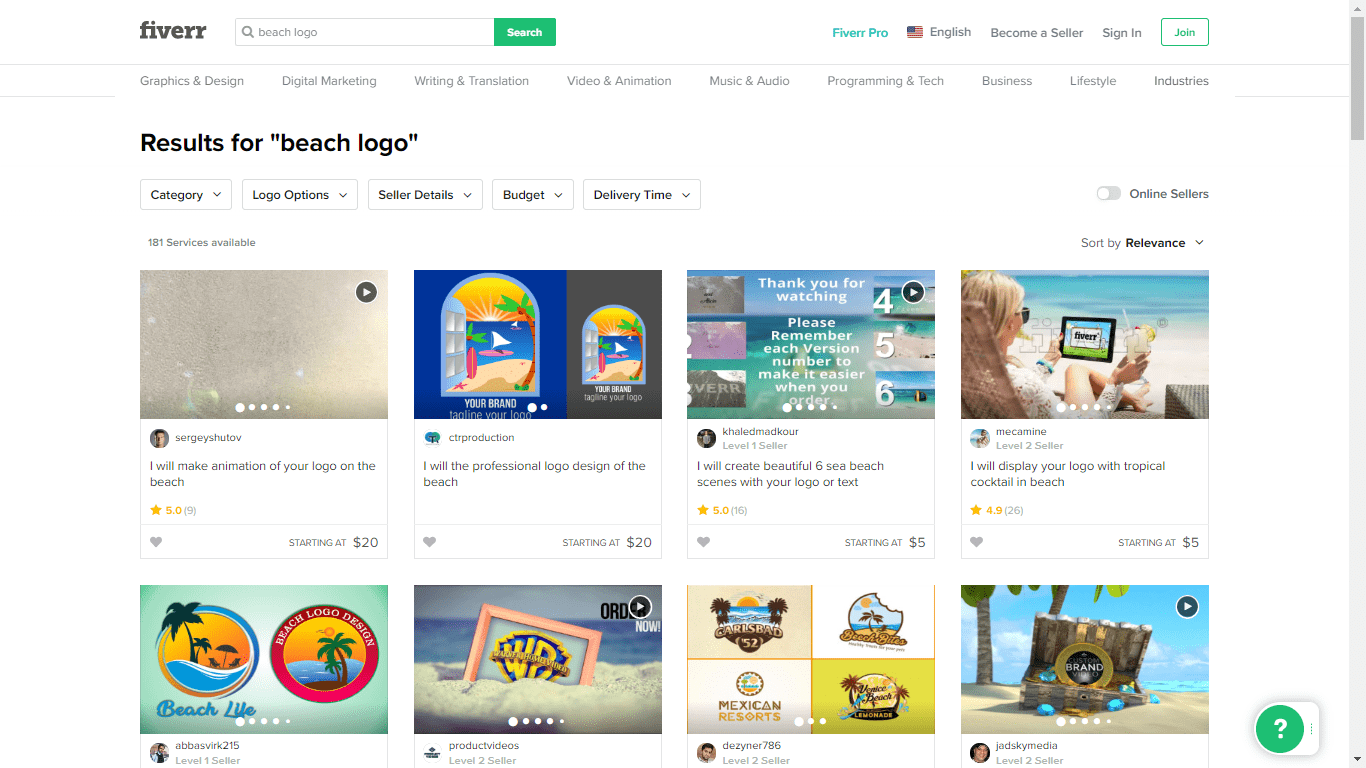 Fiverr screenshot - beach logo designers