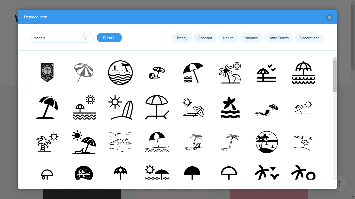 Wix Logo Maker screenshot - beach icons