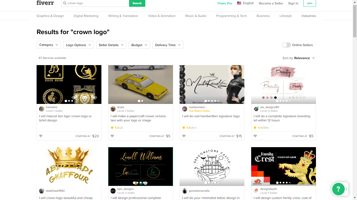 Fiverr screenshot - crown logo designers