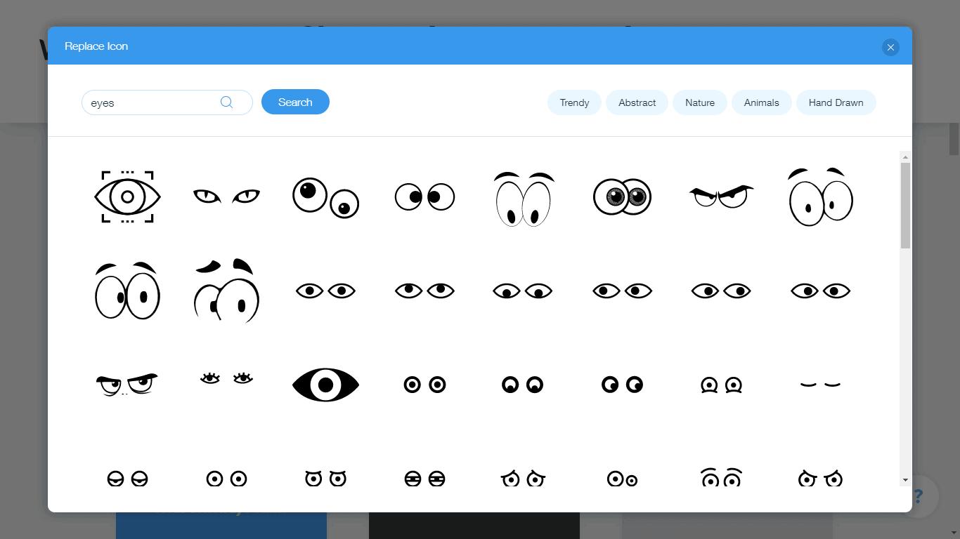Wix Logo Maker screenshot - eyes icons