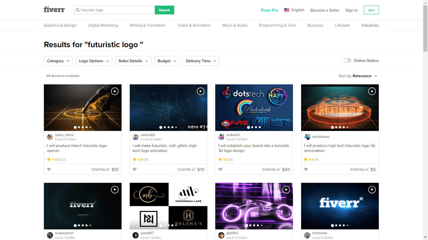 Fiverr screenshot - futuristic logo designers