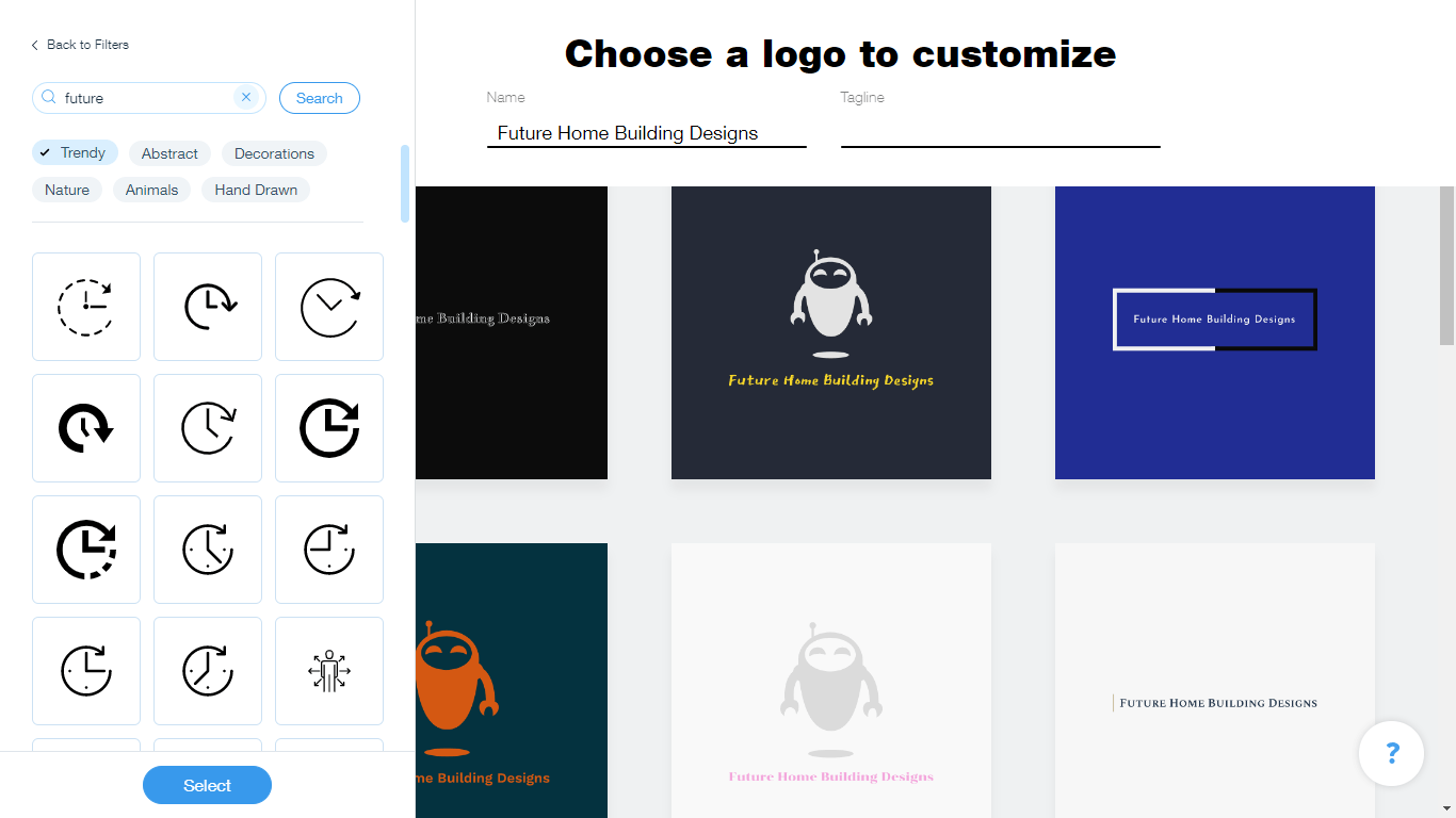 Wix Logo Maker screenshot - future icons