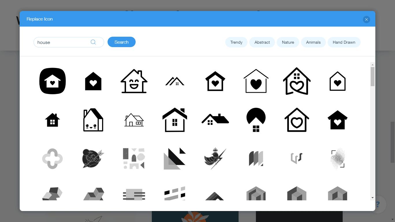 Wix Logo Maker screenshot - house icons