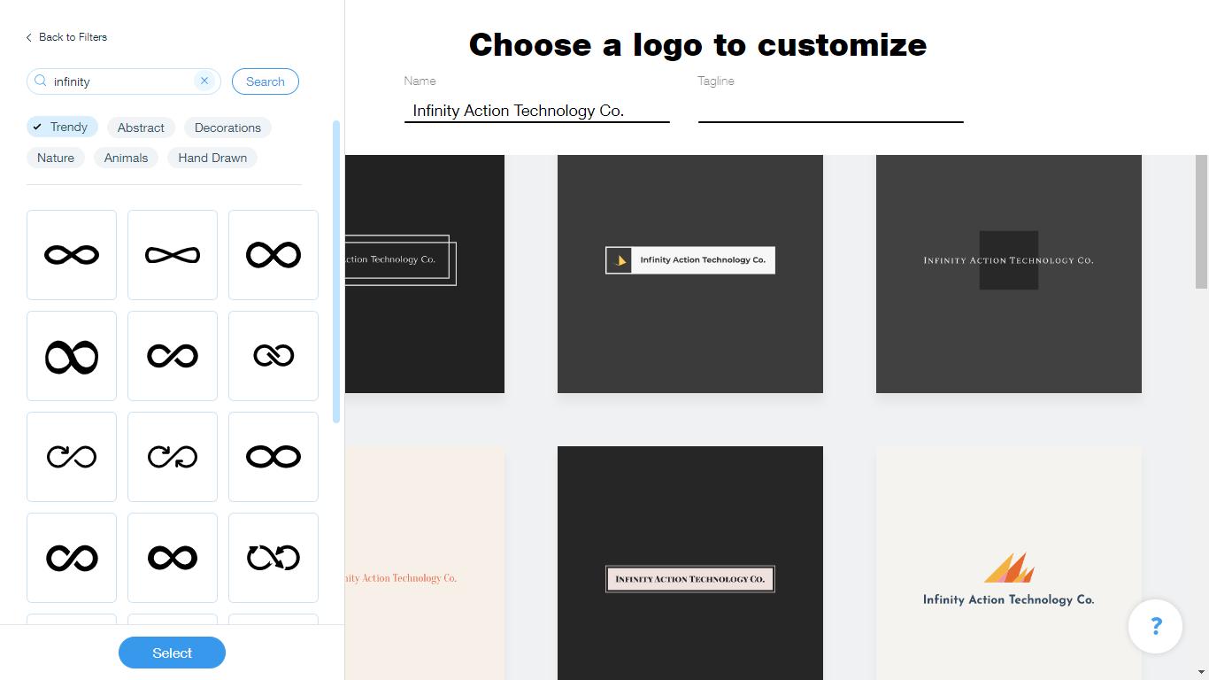 Wix Logo Maker screenshot - infinity icons