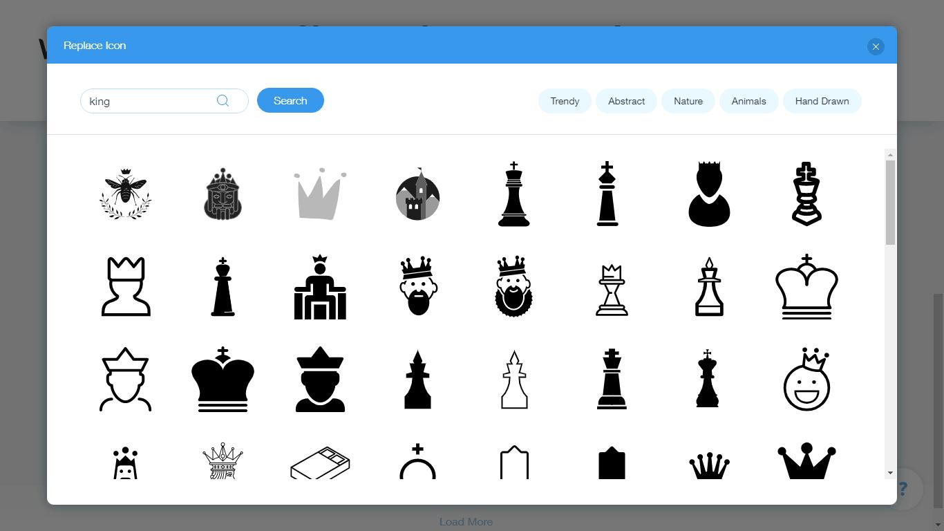 Wix Logo Maker screenshot - King icons