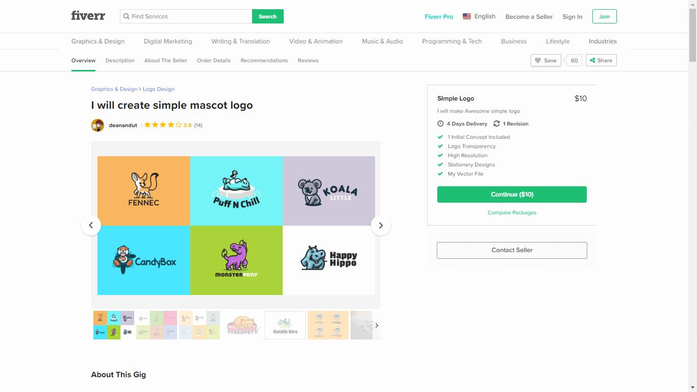 Fiverr screenshot - Simple logo package