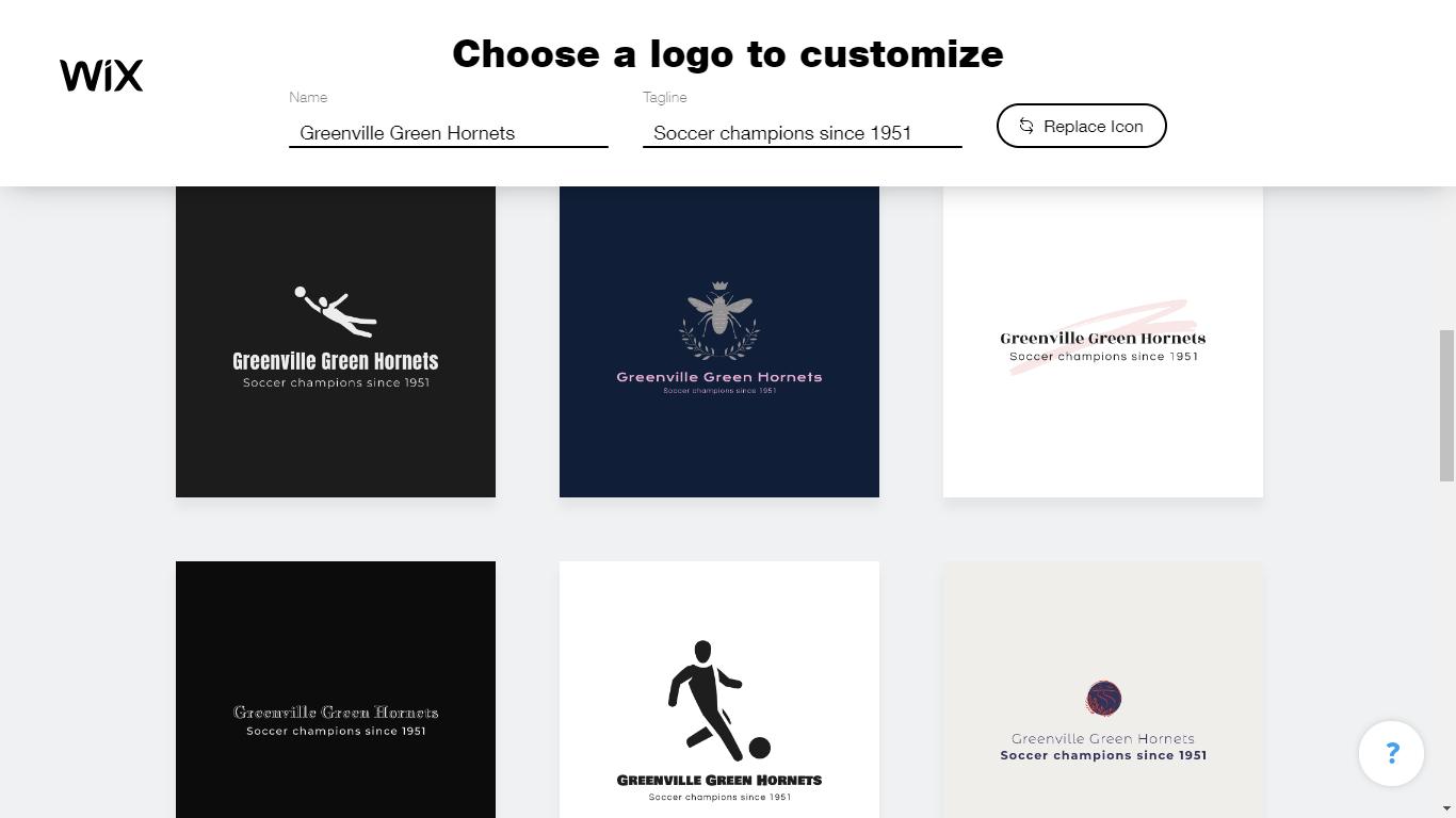 Wix Logo Maker screenshot - Suggested logos