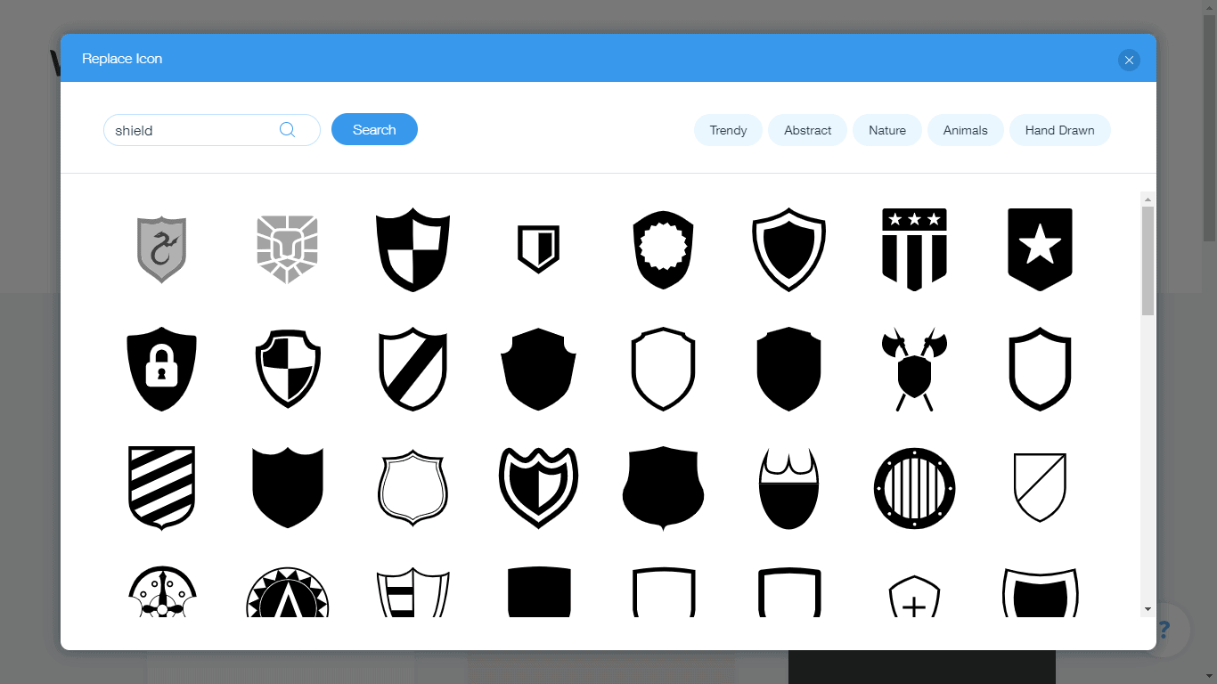 Wix Logo Maker screenshot - shield icons