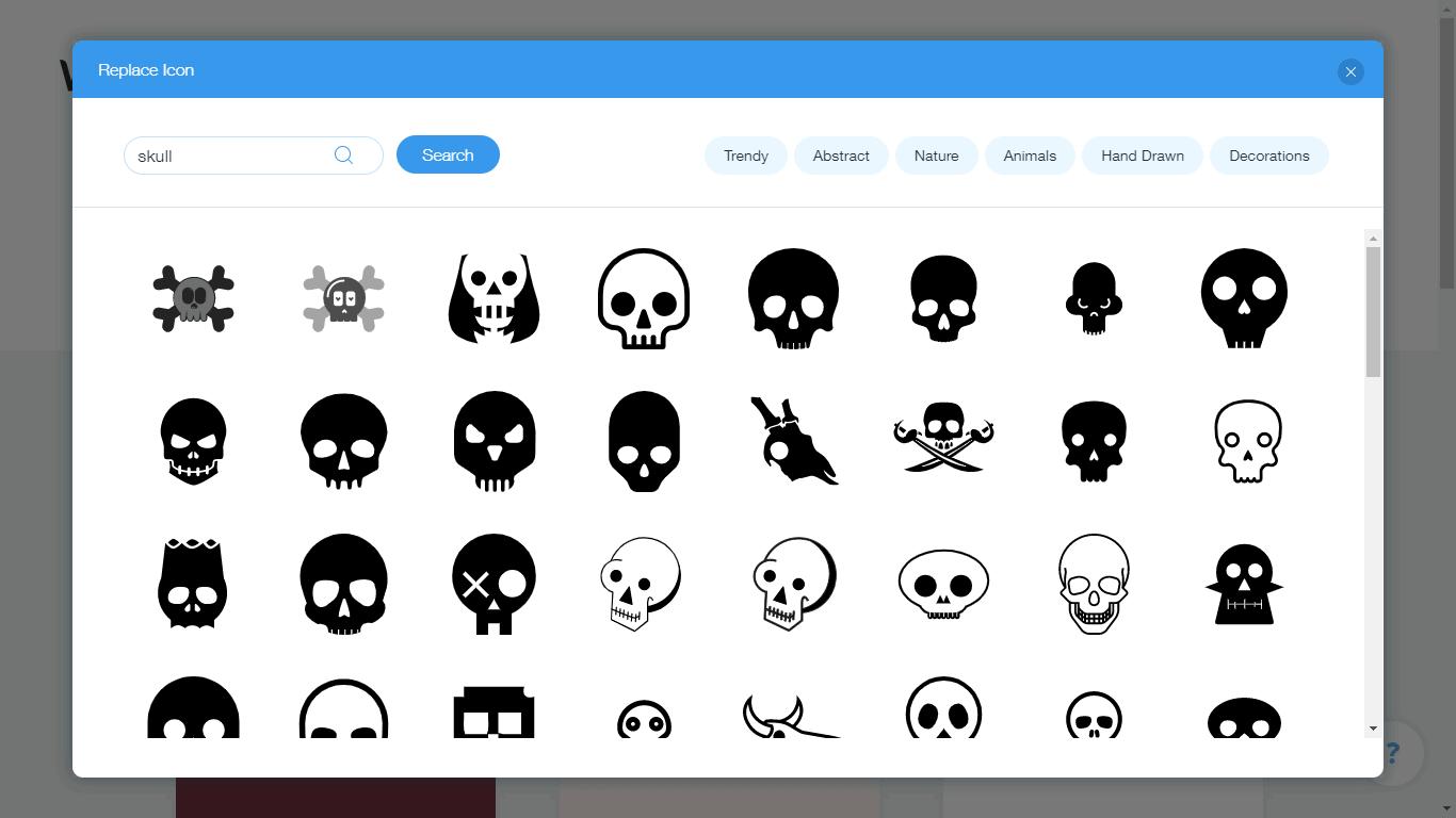 Wix Logo Maker screenshot - skull icons
