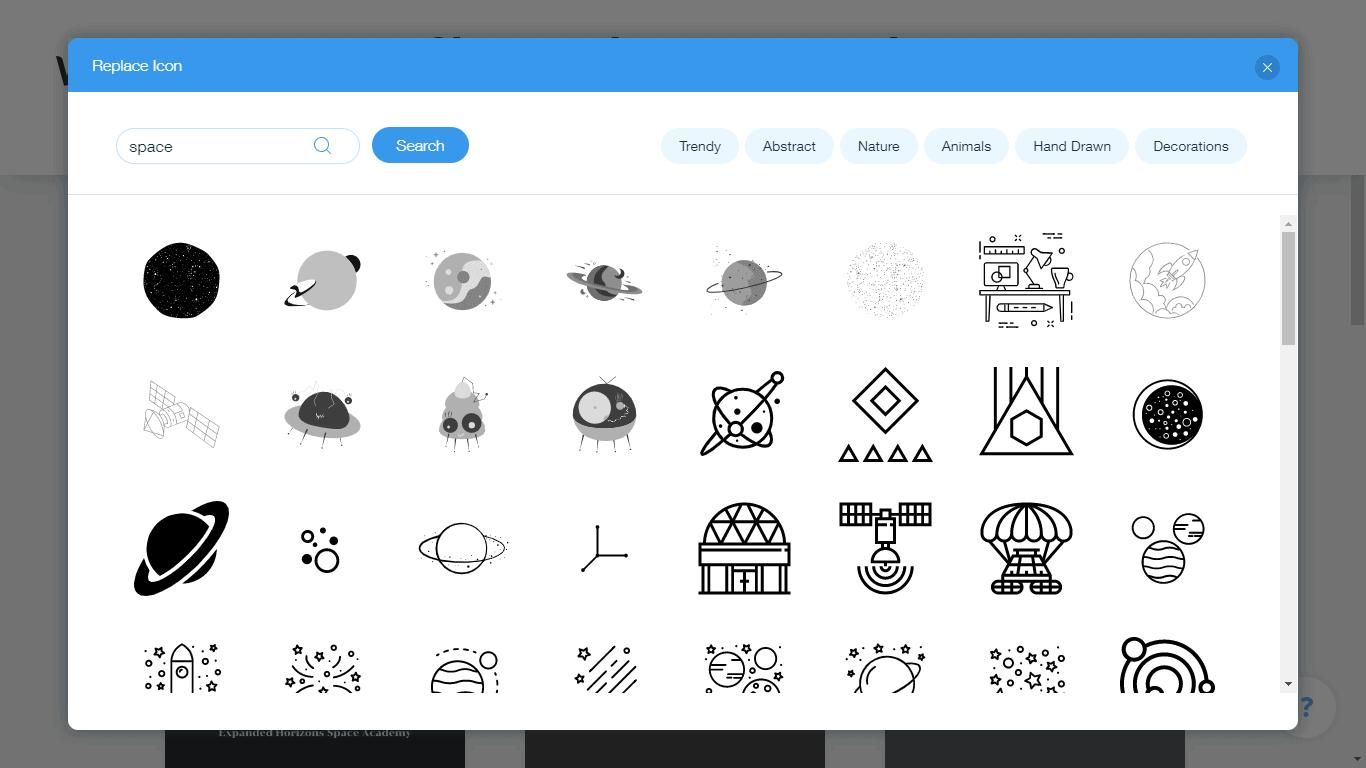 Wix Logo Maker screenshot - space icons