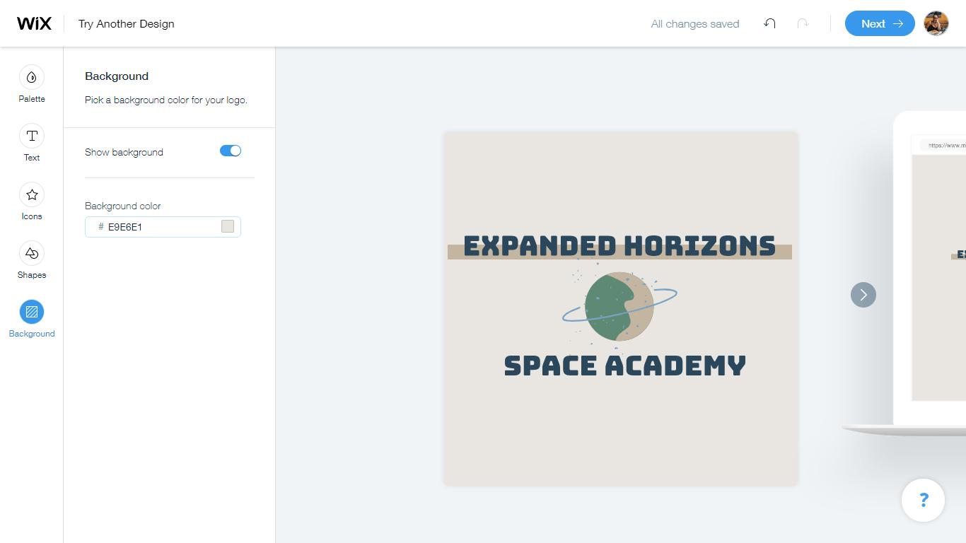 Wix Logo Maker screenshot - logo editor