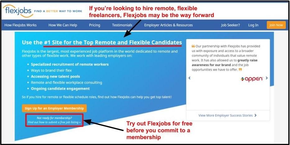 Desktop homepage of freelancer platform FlexJobs