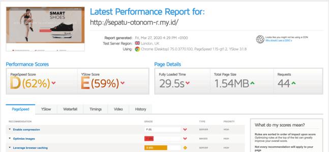 Hasil cek kecepatan website hosting di DhyHost