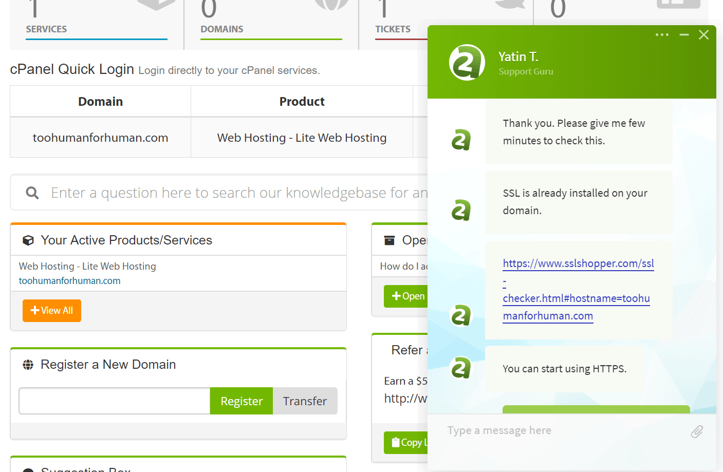 A2 Hosting live chat support