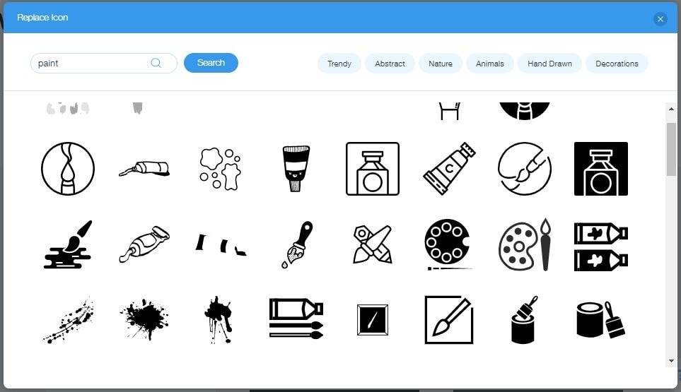 Wix Logo Maker screenshot - paint icons
