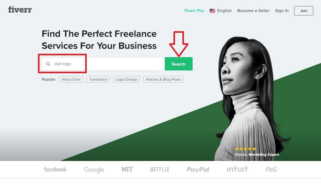 Fiverr screenshot - Fiverr homepage search box