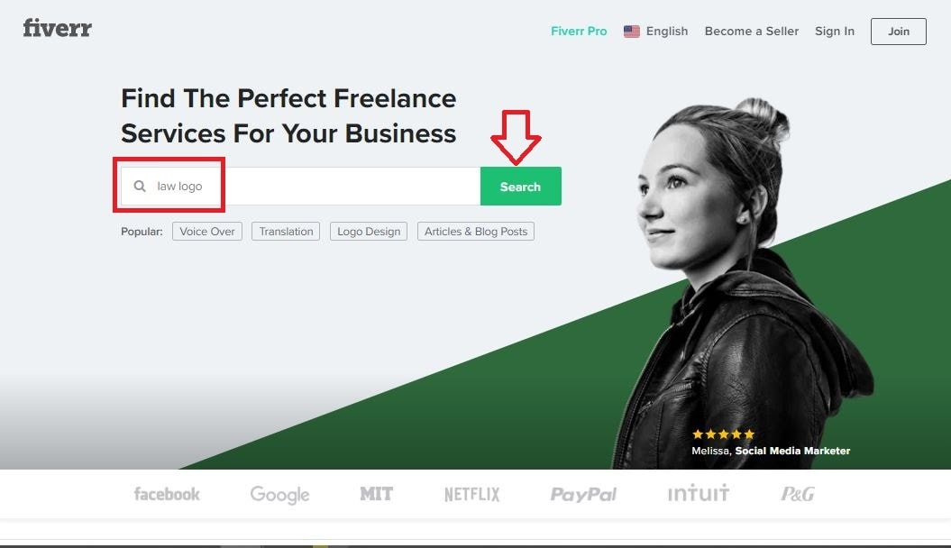 Fiverr screenshot - Fiverr homepage