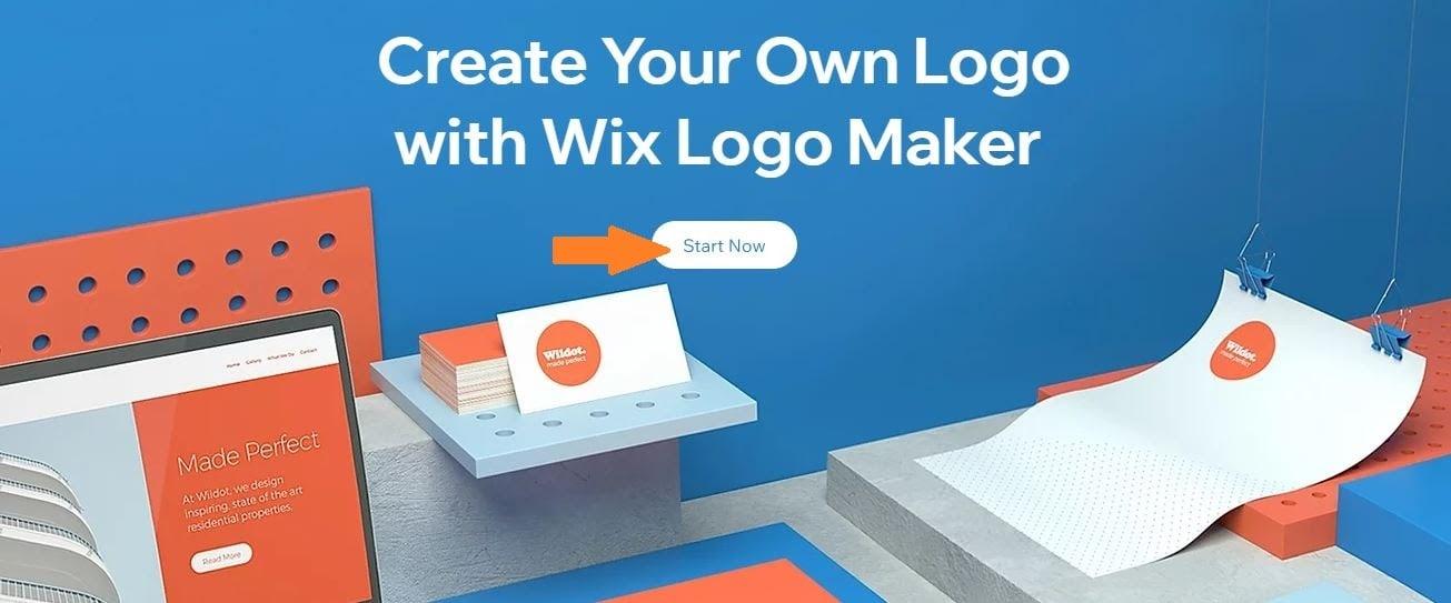 Wix Logo Maker screenshot - Start Now homepage