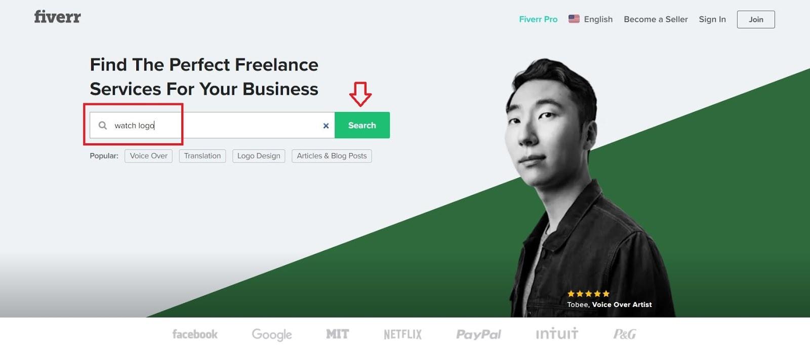 Fiverr screenshot - Homepage search bar
