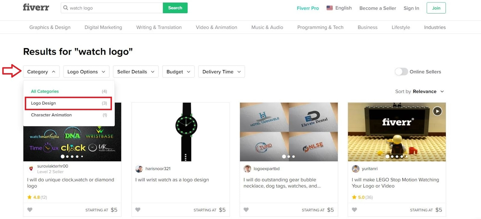 Fiverr screenshot - watch logo designers