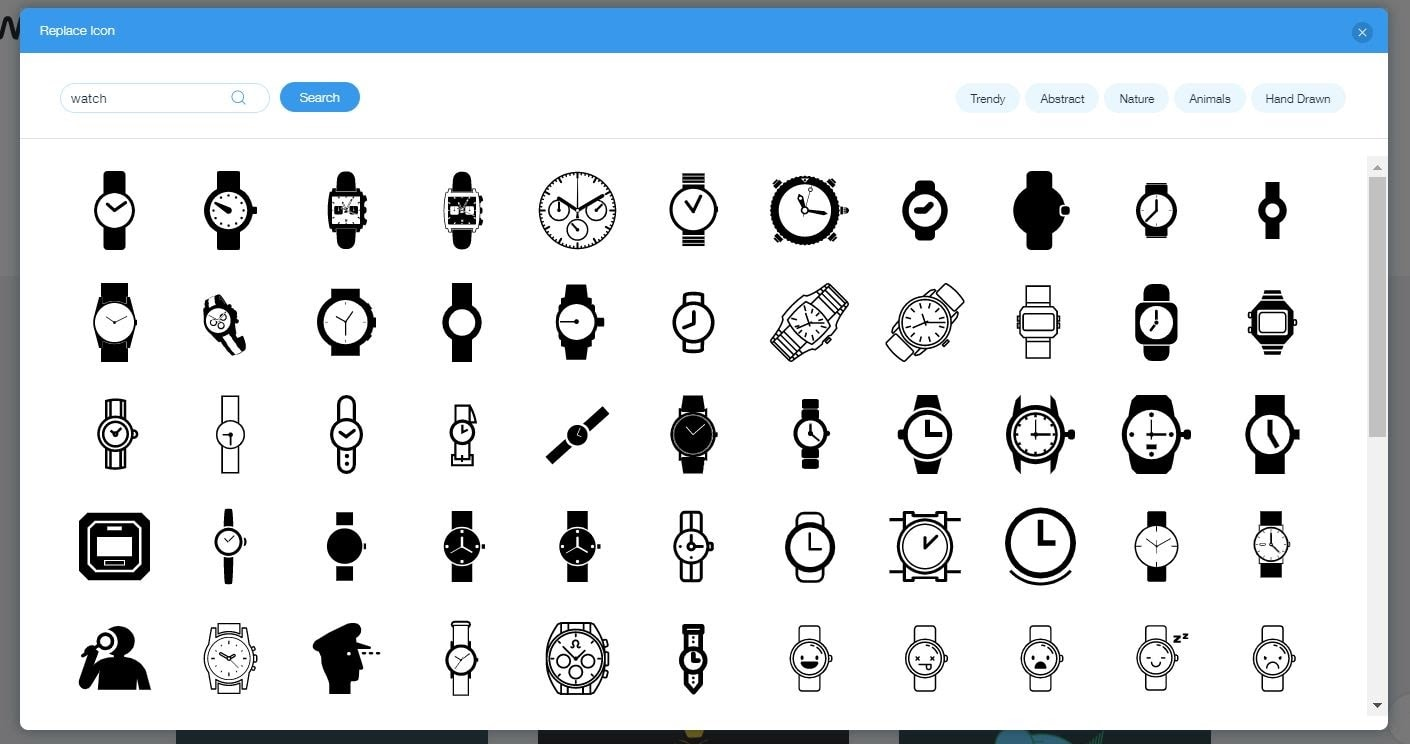 Wix Logo Maker screenshot - watch icons