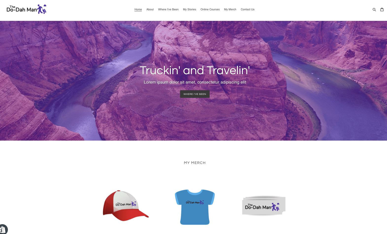 My Shopify website homepage