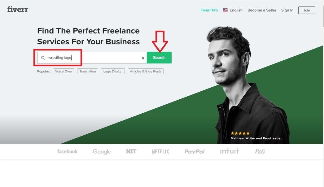Fiverr screenshot - Fiverr homepage search box