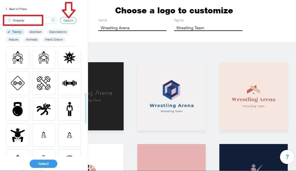 Wix Logo Maker screenshot - wrestler icons