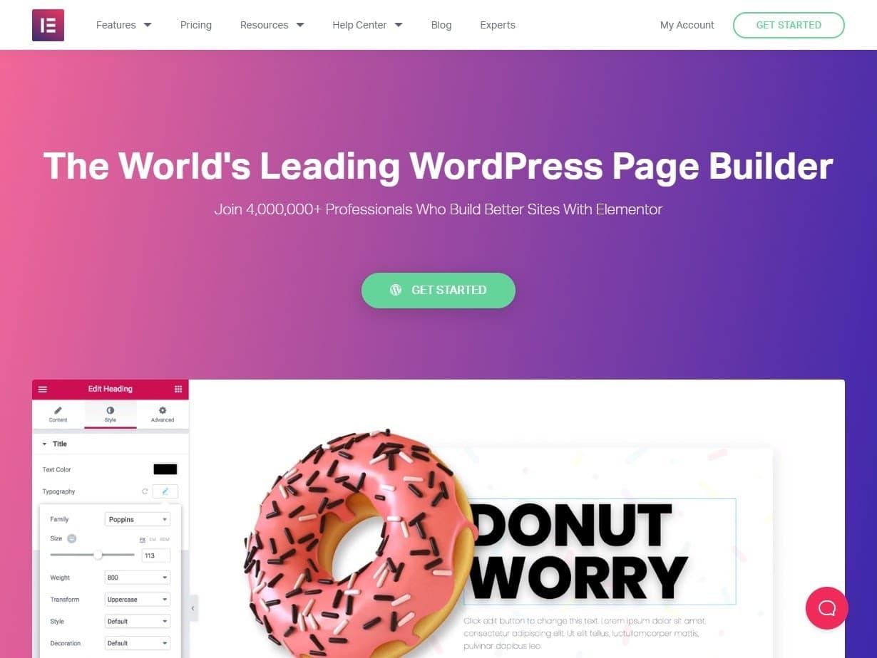 Elementor homepage