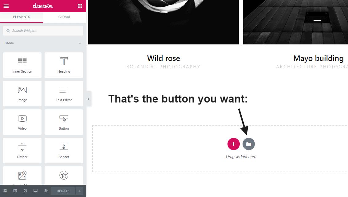 Elementor site editor