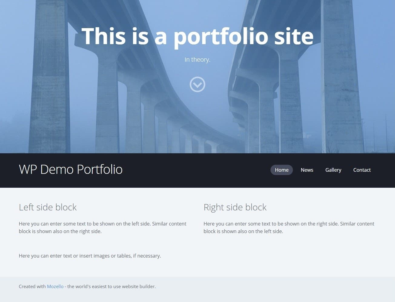 Mozello demo site for Website Planet