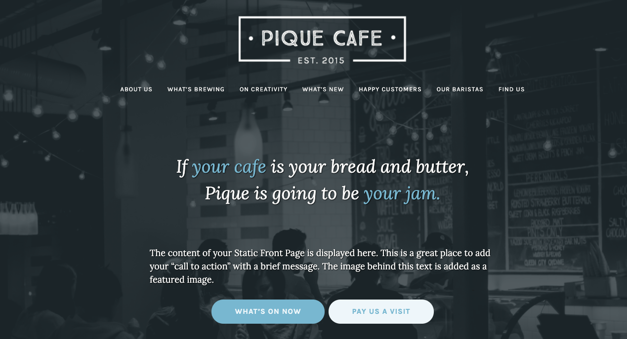 WordPress.com Pique template for cafes and bakeries