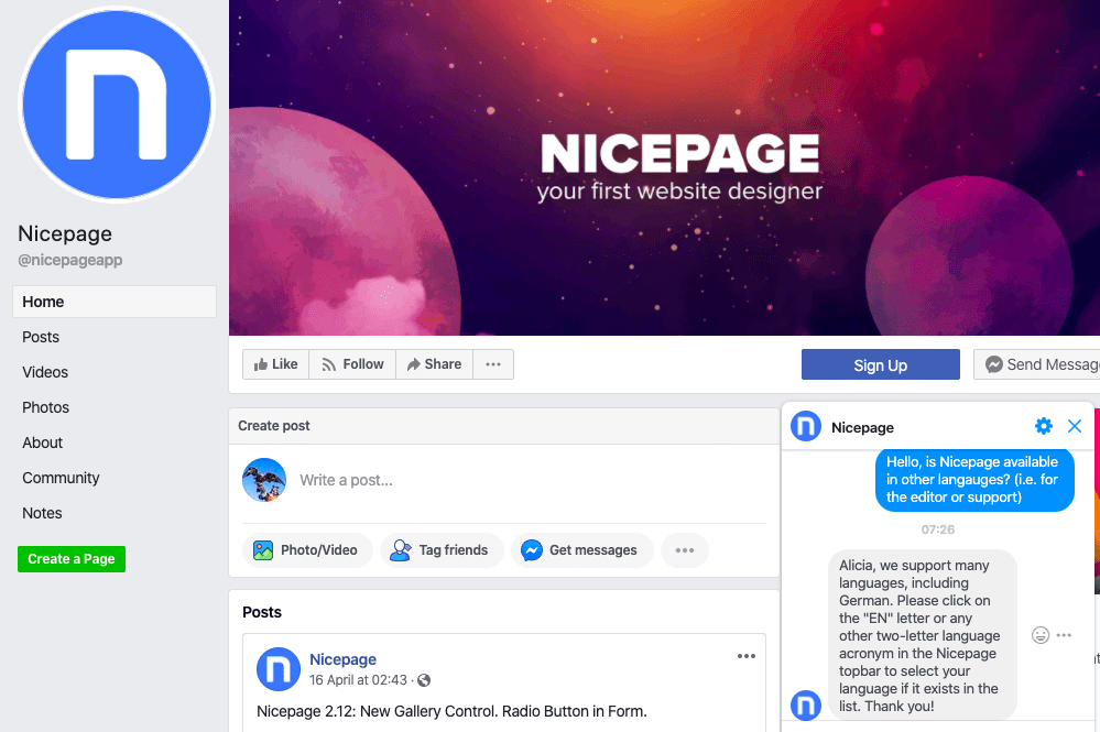 Nicepage Facebook chat