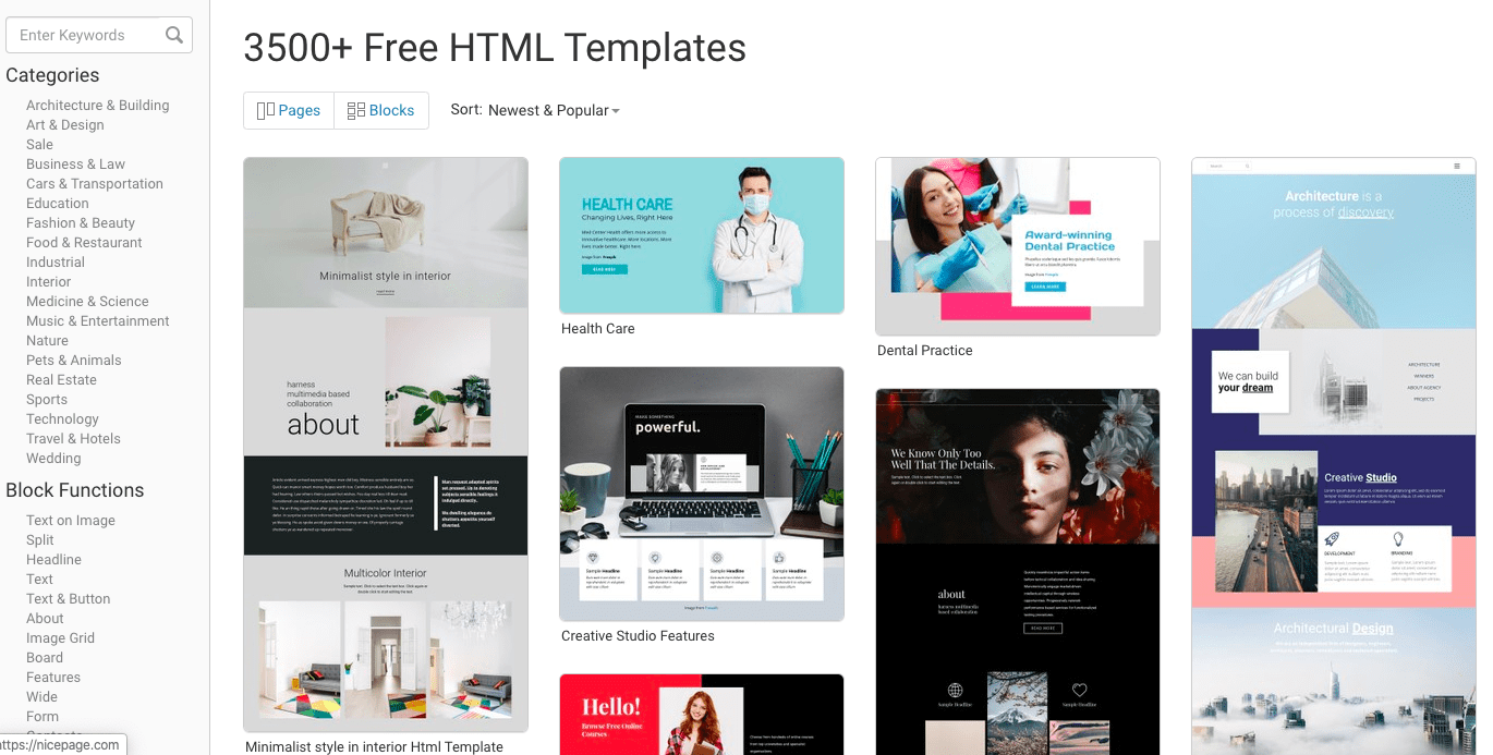 Nicepage website templates
