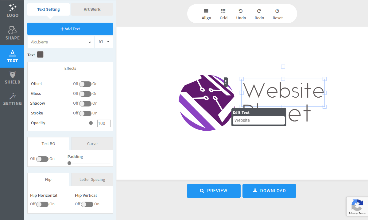 The Free Logo Creator editor