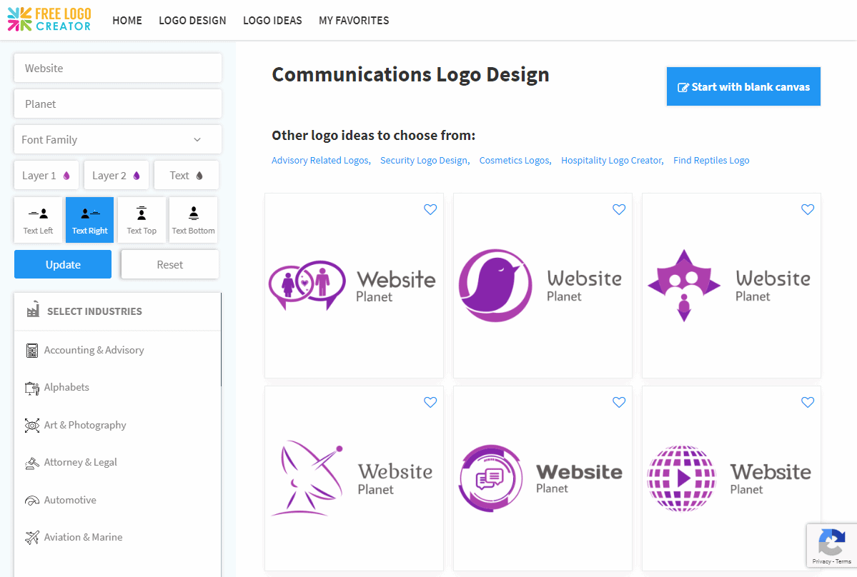 The template browser with custom settings applied.