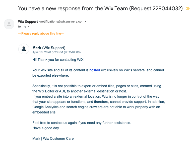 Wix Support email correspondence